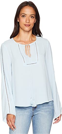 Bell Sleeve Tassel Tie Neck Blouse with Faggoting