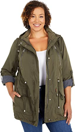 Plus Size Parachute Cotton Utility Fishtail Parka Jacket