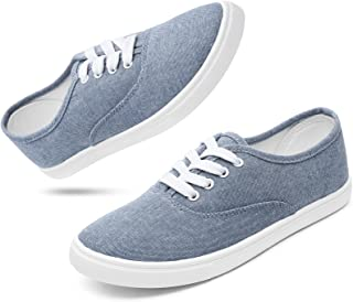 Women's Canvas Sneakers Low Top Lace Up Comfortable...