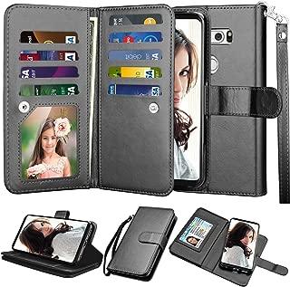 Njjex for LG V35 ThinQ Wallet Case, for LG V30 / LG V30 Plus/LG V35 Case, PU Leather [9 Card Slots] ID Credit Folio Flip [Detachable][Kickstand] Magnetic Clousure Cover & Wrist Strap [Black]
