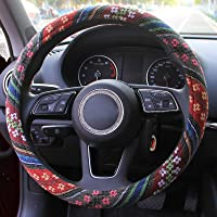 Copap Steering Wheel Cover Red//Black 15 Inch Leather Non-Slip Universal Fit Cute Steering Wheel for Women