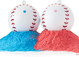 Baby Gender Reveal Baseballs Pink and Blue Balls - Exploding Set for Boy or Girl Sex Reveal Party Baby Announcement (1 Pink Ball and 1 Blue Ball)
