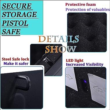 Gun Safe for Pistols with Fingerprint Digital Lock Key Quick Access Smart Biometric Pistol Safe for Home Personal Safe Large