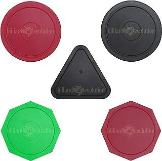 Billiard Evolution 5 Air Hockey Pucks: 2 Round: Red & Black, 2 Octagons: Red & Green, 1 Black Triangle