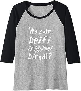 Lustige Dirndl Ersatz Shirts Damen Wo zum Deifi - Trachtenshirt Dirndl Ersatz Shirt Oktoberfest Raglan
