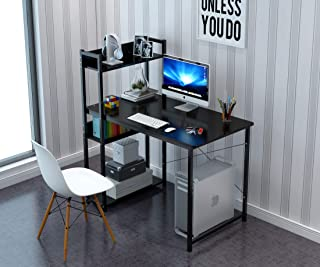 JOYSEUS Home Office Computer Desk Study Writing Desk with Wooden Storage Shelf, Laptop Table with Keyboard Tray/Computer H...