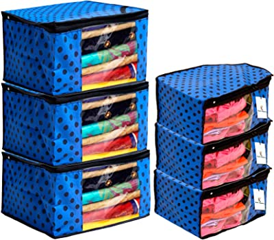 Kuber Industries Polka Dots Design Non Woven 3 Piece Saree Cover/Cloth Wardrobe Organizer and 3 Pieces Blouse Cover Combo Set (Blue) -CTKTC038428