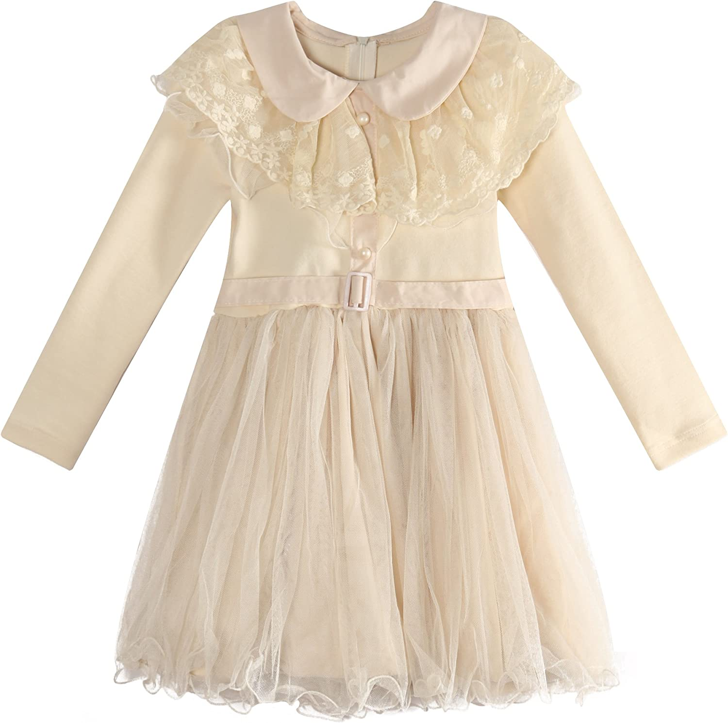 Richie House Big Girls' Dress with Tulle Skirt and Lace Collar RH0915