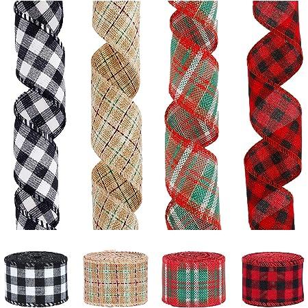 Gift Sewing /& Quilting 78 Red Woven Plaid Jacquard Ribbon Rennaisance Ribbons