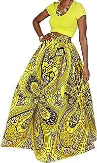 9359bde4e49 Aimeio Women African Print Skirt Stetch Elastic Bohemian High Waist A-Line  Maxi Skirt