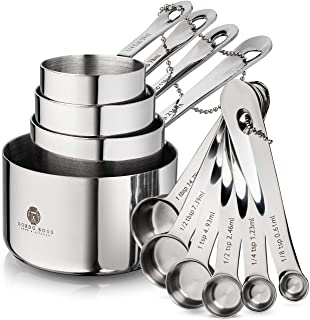 Stainless Steel Measuring Cups and Spoons Set - Gordo Boss 10-Piece Heavy-Duty 18/8 Metal Measuring Spoons and Cups Stainl...
