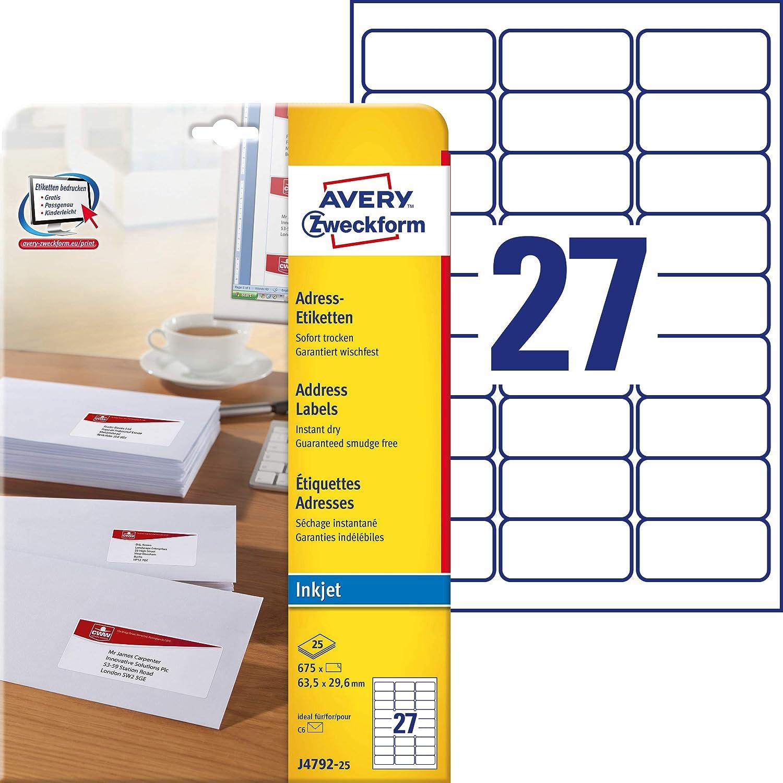 Avery Cheap bargain Zweckform J4792-25Address Labels 29.6mm 63.5x Genuine