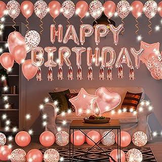 Happy Birthday Decorations for Women Girls, String Lights Happy Birthday Star Heart Foil Confetti Latex Rose Gold Balloons...