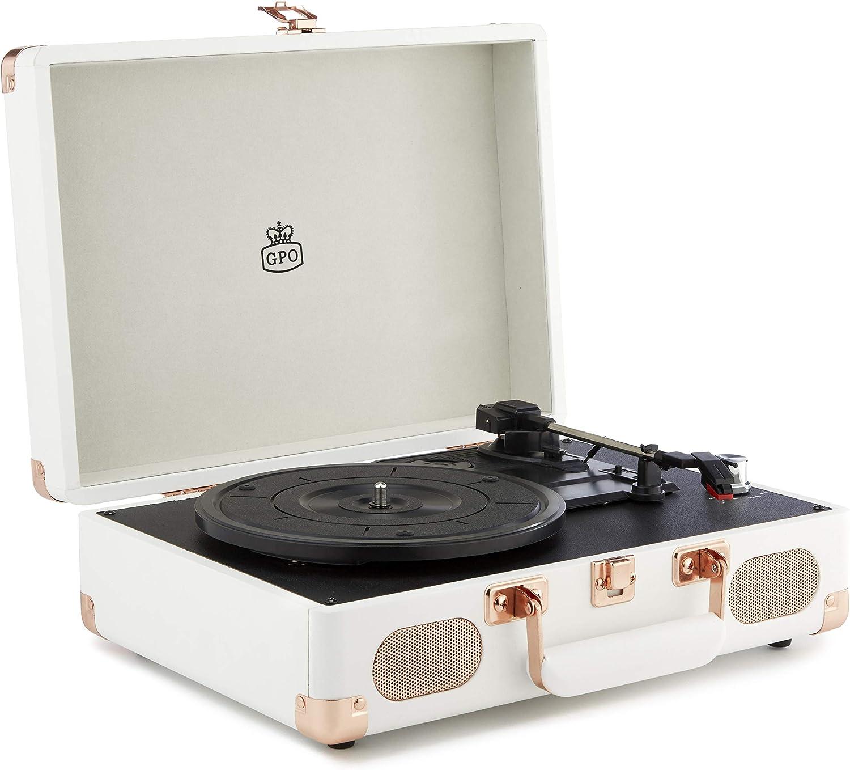 Gpo Soho Retro Kofferplattenspieler Mit Eingebautem Stereolautsprecher Weiß Rose Gold Audio Hifi