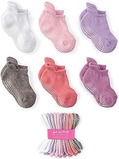 LA Active Grip Ankle Socks - 6 Pairs - Baby Toddler Kids Boys Girls Non Slip/Anti Skid