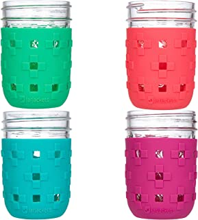 JarJackets Silicone Mason Jar Protector Sleeve - Fits 8oz REGULAR mouth Jelly Jars (4, Multicolor)