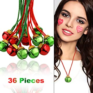 36 Pieces Christmas Bell Necklaces Christmas Holiday Necklaces for Christmas Supplies ( Red, Green)