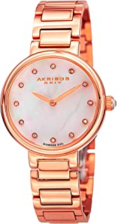 Akribos XXIV Women's AK877RG Round White Mother of Pearl Dial Two Hand Quartz Rose Gold Tone Bracelet Watch