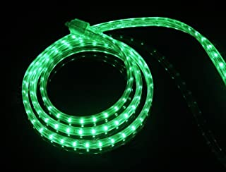 CBConcept UL Listed, 20 Feet, 2100 Lumen, Green, Dimmable, 110-120V AC Flexible Flat LED Strip Rope Light, 360 Units 3528 SMD LEDs, Indoor Outdoor Use, Accessories Included, Ready to use