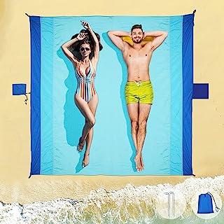 Strandmatta picknickfilt vattentät – sandtät strandfilt extra stor picknickmatta 210 x 200 cm, bärbar strandfilt tvättbar ...