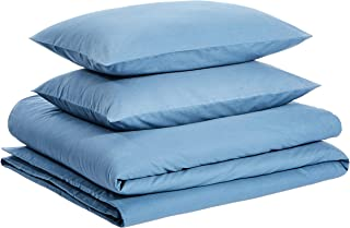 AmazonBasics Brushed Percale Cotton Duvet Comforter Cover Set, King, Dark Teal