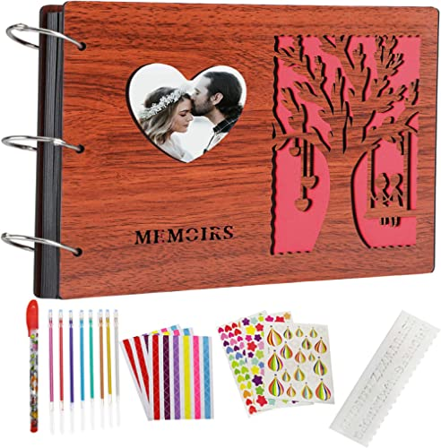 ZEEYUAN DIY Album Photo 60 Pages,Album Photo Scrapbooking en Bois,de Mariage Cadeau de la Saint-Valentin à la mère, a...