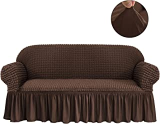 CHUN YI Universal Sofa Slipcover with Skirt 1-Piece Fitted Couch Cover All-Purpose Furniture Protector, Washable High Elastic Durable Seersucker Fabric (Large,Chocolate)