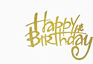 happy birthday cake topper golden color 13.5 cm