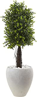 """Nearly Natural 5963 40"""" Ixora Topiary with White Planter UV Resistant (Indoor/Outdoor)"""