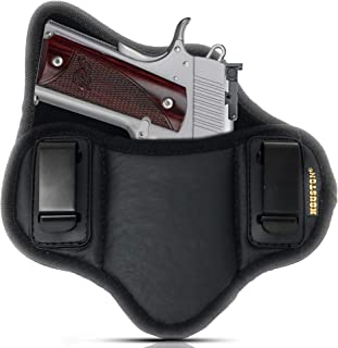 Tactical Pancake Gun Holster Houston - ECO Leather Concealed Carry Soft Material | Suede Interior for Protection | Inside The Waistband | Right Hand Fits Most 1911 4