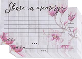 Share a Memory Card - 100-Pack Single-Sided Flat Card for Funeral, Memorial Service, Celebration of Life Events, Pink Floral Design, 4 x 6 Inches