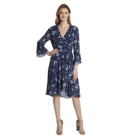 Tahari by ASL Smocked Wrap Dress (Navy/Pink Lilac) Women