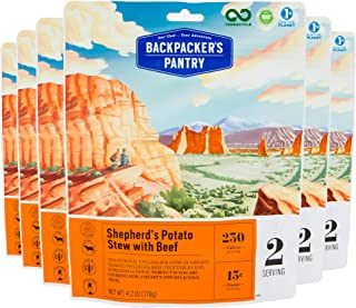 Backpacker's Pantry Shepherd's Potato Stew with Beef, 2 Servings Per Pouch (6 Count), Freeze Dried Food, 13 Grams of Prote...