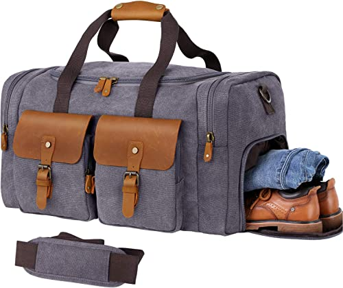 WOWBOX Duffle Bag for Men Women Canvas Genuine Leather Large Duffel Bag Overnight Weekender Bag with Waterproof Shoe ...