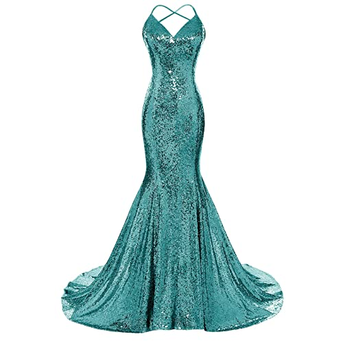 f80ef86056d DYS Women s Sequins Mermaid Prom Dress Spaghetti Straps V Neck Backless  Gowns