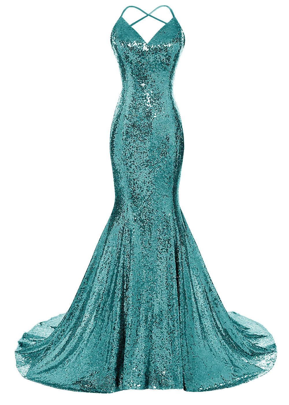 Available at Amazon: Dys Women's Sequins Mermaid Prom Dress Spaghetti Straps V Neck Backless Gowns