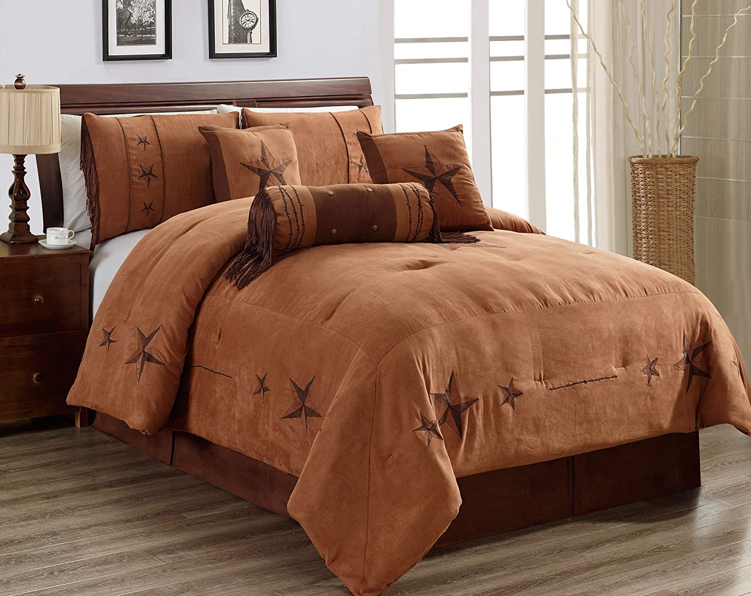 Amazon Com 7 Piece Full Size Chocolate Brown Gold Bedding Rustic Lone Star Comforter Set 90 X 86 Micro Suede Western Decor Lodge Bed In A Bag For Double Bed Home Kitchen