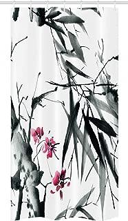 Ambesonne Japanese Stall Shower Curtain, Natural Bamboo Stems Cherry Blossom Japanese Inspired Folk Print, Fabric Bathroom Decor Set with Hooks, 36