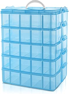 BELLE VOUS Caja Almacenamiento Plástico Azul 5 Niveles - Ranuras de Compartimentos Ajustables - Caja Organizadora Plastico Transparente - Máximo 50 Compartimentos - Guardar Juguetes Joyas, Cuentas