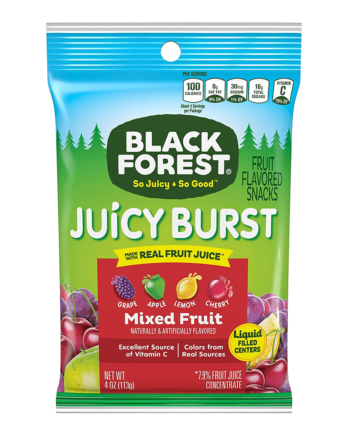 Black Forest Juicy Burst Fruit Snacks, Mixed Fruit, 4 Ounce, Pack of 12