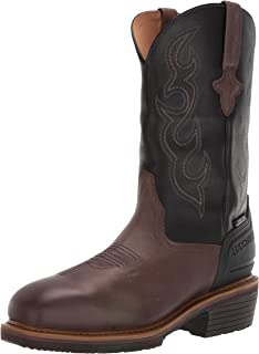 حذاء رجالي غربي من Lucchese Bootmaker مقاس 30.48 سم: حذاء برقبة طويلة من الفولاذ ومقاوم للماء - وسط مربع اصبع القدم