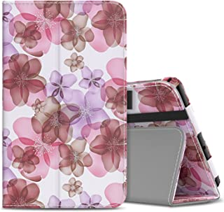 MoKo Samsung Galaxy Tab A 8.0 2017 Case - Slim Folding Stand Cover Case with Handle Strap for Galaxy Tab A 8.0 (SM-T380 / T385) 2017 Release (NOT FIT 2015 Tab A 8.0 SM-T350/P350), Floral Purple
