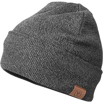 Wintermütze Weiß Braun warme Strickmütze UNISEX weiche Wollmütze  KU 48-56cm