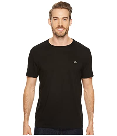 Lacoste Short Sleeve Pima Crew Neck Tee (Black) Men