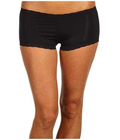 Maidenform Classic Microfiber Boyshorts w/ Lace (Black) Women