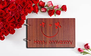 Sehaz Artworks 'Happy Anniversary' Pasted Wood Photo Album (22 cm x 16 cm x 4 cm, Brown)
