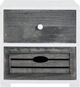 Rebecca Mobili Comodino Shabby da Camera, Mobile Bagno con 2 cassetti, Legno Paulownia, Bianco Grigio - Misure: 30,5 x 30 x 24 cm (HxLxP) - Art. RE4600