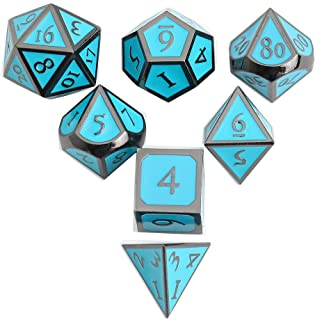 DND Polyhedral Metal Game Dice Black Light Blue 7pc Set for Dungeons and Dragons RPG MTG Table Games D4 D6 D8 D10 D12 D20