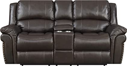 MorriSofa William Reclining Love Seat, 79 x 39 x 40.5, Chocolate