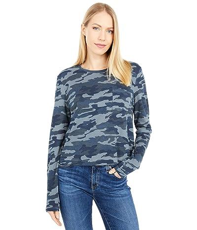 Lucky Brand Long Sleeve Pocket Tee (Blue Camo) Women